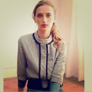 ANTHROPOLOGIE MADCHEN GRAY NAVY WOOL BOMBER JACKET